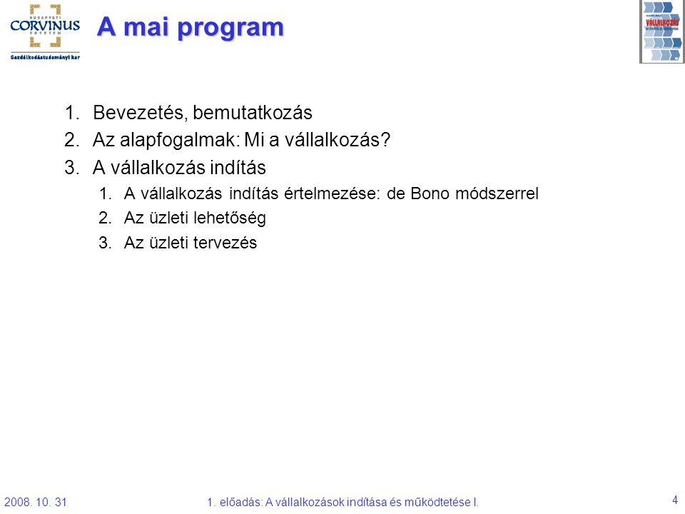 2008. 10. 311. előadás: A vállalkozások indítása és működtetése I. 4 A mai program 1.Bevezetés, bemutatkozás 2.Az alapfogalmak: Mi a vállalkozás? 3.A