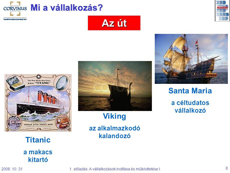 2008. 10. 311. előadás: A vállalkozások indítása és működtetése I. 8 Mi a vállalkozás? Titanic a makacs kitartó Viking az alkalmazkodó kalandozó Santa
