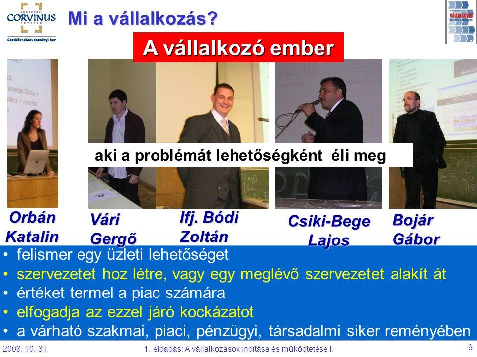 2008. 10. 311. előadás: A vállalkozások indítása és működtetése I. 9 Orbán Katalin Mi a vállalkozás? Forrás: Timmons, 1990. felismer egy üzleti lehető