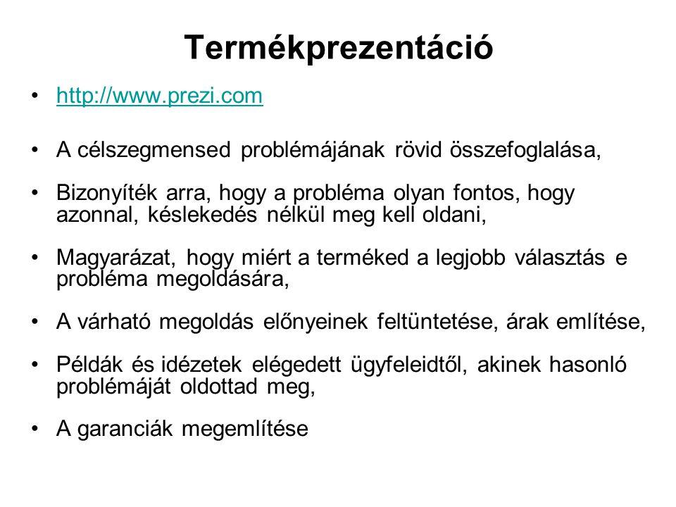 Termékprezentáció http://www.prezi.com A célszegmensed problémájának rövid összefoglalása, Bizonyíték arra, hogy a probléma olyan fontos, hogy azonnal