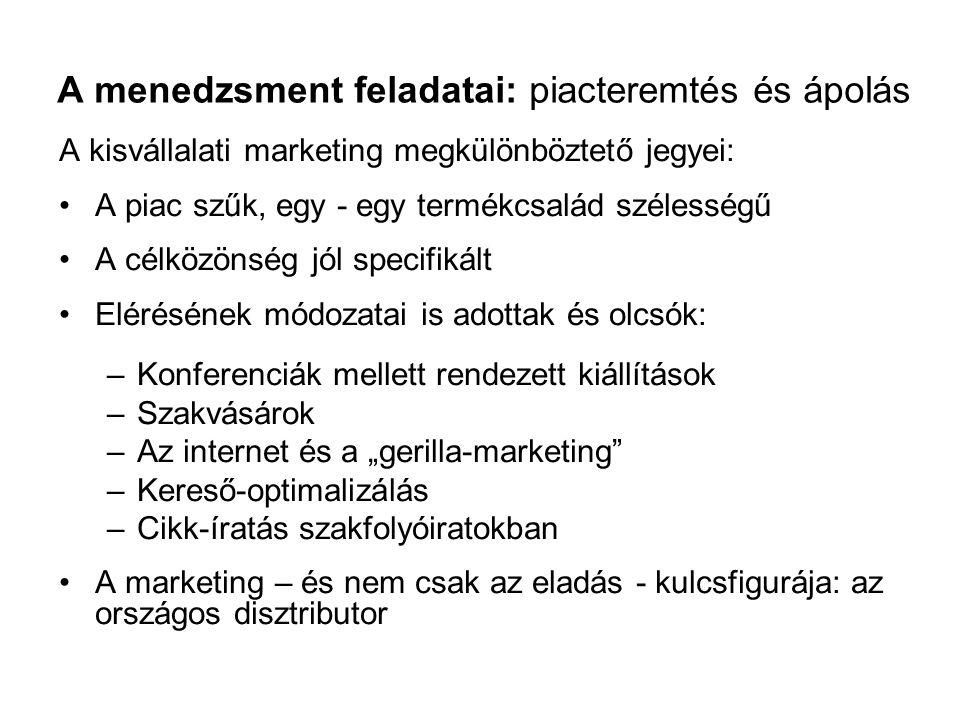 A menedzsment feladatai: piacteremtés és ápolás A kisvállalati marketing megkülönböztető jegyei: A piac szűk, egy - egy termékcsalád szélességű A célk