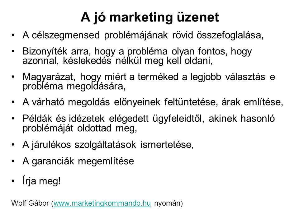 A jó marketing üzenet A célszegmensed problémájának rövid összefoglalása, Bizonyíték arra, hogy a probléma olyan fontos, hogy azonnal, késlekedés nélk