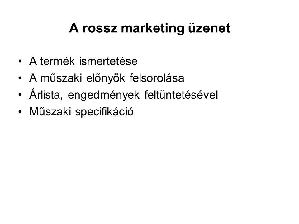 A rossz marketing üzenet A termék ismertetése A műszaki előnyök felsorolása Árlista, engedmények feltüntetésével Műszaki specifikáció