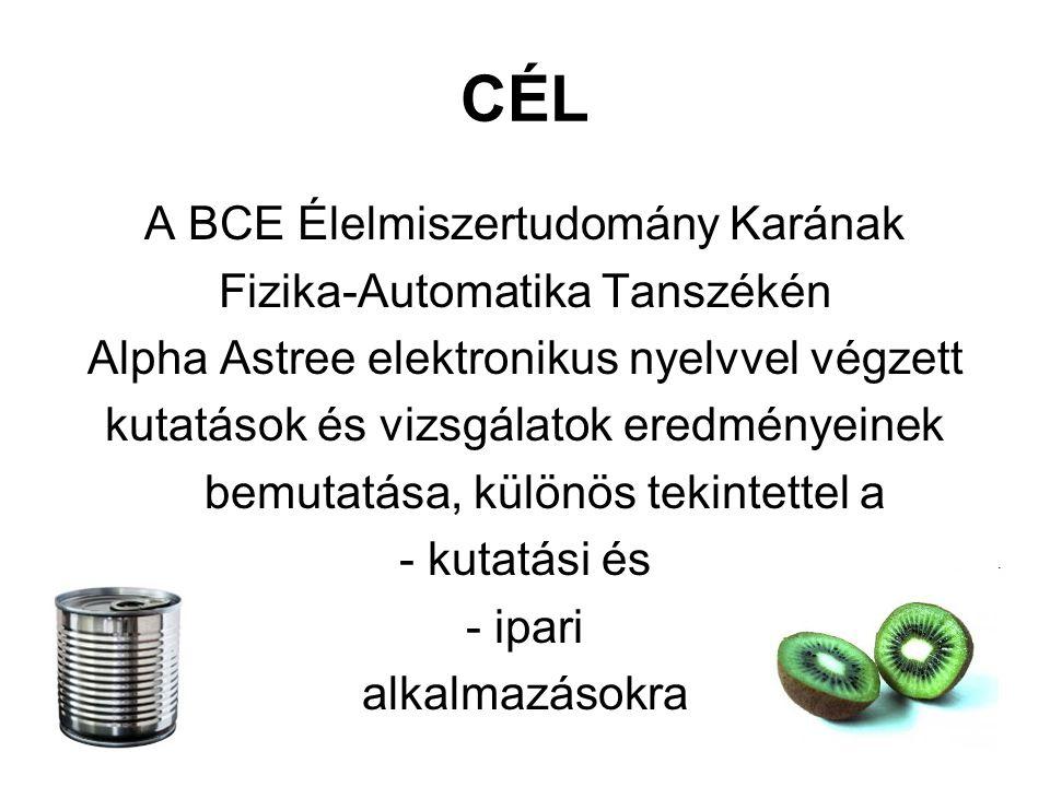 CÉL A BCE Élelmiszertudomány Karának Fizika-Automatika Tanszékén Alpha Astree elektronikus nyelvvel végzett kutatások és vizsgálatok eredményeinek bemutatása, különös tekintettel a - kutatási és - ipari alkalmazásokra