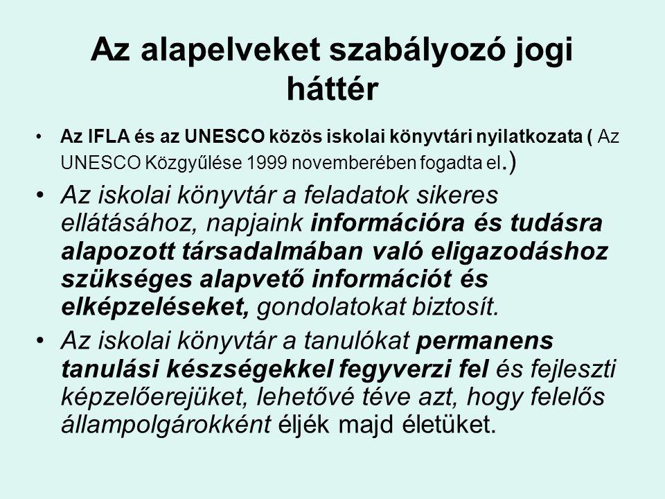Az alapelveket szabályozó jogi háttér Az IFLA és az UNESCO közös iskolai könyvtári nyilatkozata ( Az UNESCO Közgyűlése 1999 novemberében fogadta el.)