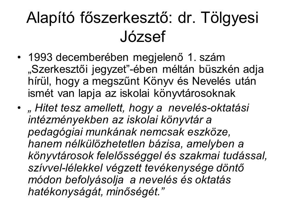 """Alapító főszerkesztő: dr. Tölgyesi József 1993 decemberében megjelenő 1. szám """"Szerkesztői jegyzet""""-ében méltán büszkén adja hírül, hogy a megszűnt Kö"""