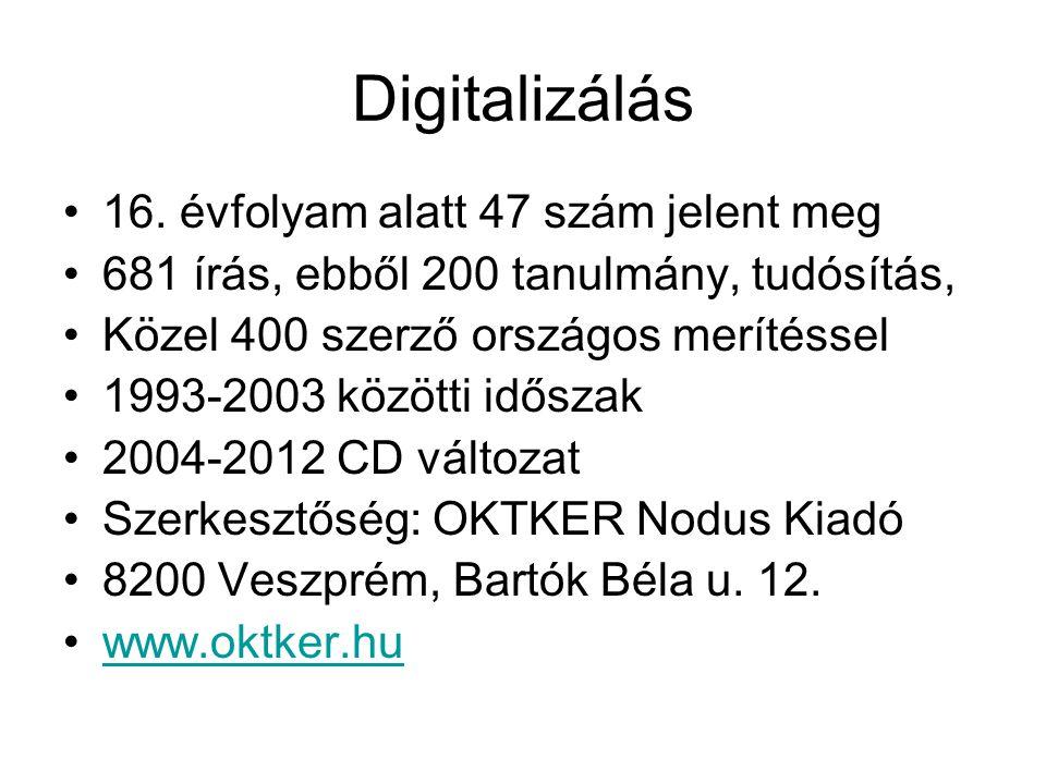 Digitalizálás 16. évfolyam alatt 47 szám jelent meg 681 írás, ebből 200 tanulmány, tudósítás, Közel 400 szerző országos merítéssel 1993-2003 közötti i