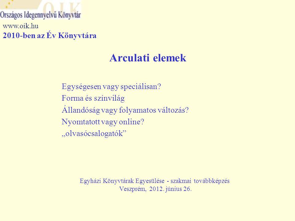 Arculatváltás – lépésről lépésre Logo Szlogen Külső megjelenés Általános és speciális ismertetők Biankó meghívó Plakátok, szórólapok Névjegy Honlap Web 2.0 eszközök Egyházi Könyvtárak Egyesülése - szakmai továbbképzés Veszprém, 2012.