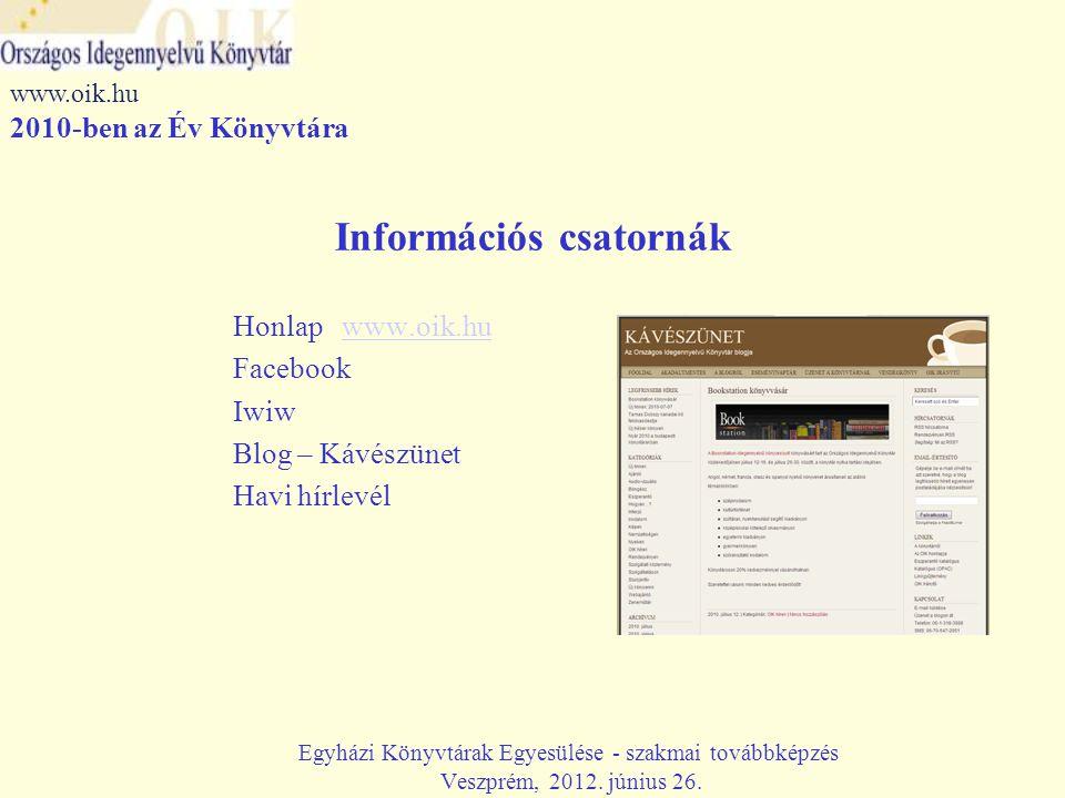 Információs csatornák Honlap www.oik.huwww.oik.hu Facebook Iwiw Blog – Kávészünet Havi hírlevél Egyházi Könyvtárak Egyesülése - szakmai továbbképzés Veszprém, 2012.