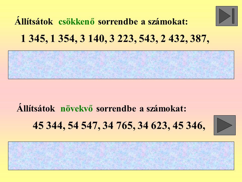 Állítsátok csökkenő sorrendbe a számokat: Állítsátok növekvő sorrendbe a számokat: 1 345, 1 354, 3 140, 3 223, 543, 2 432, 387, 45 344, 54 547, 34 765