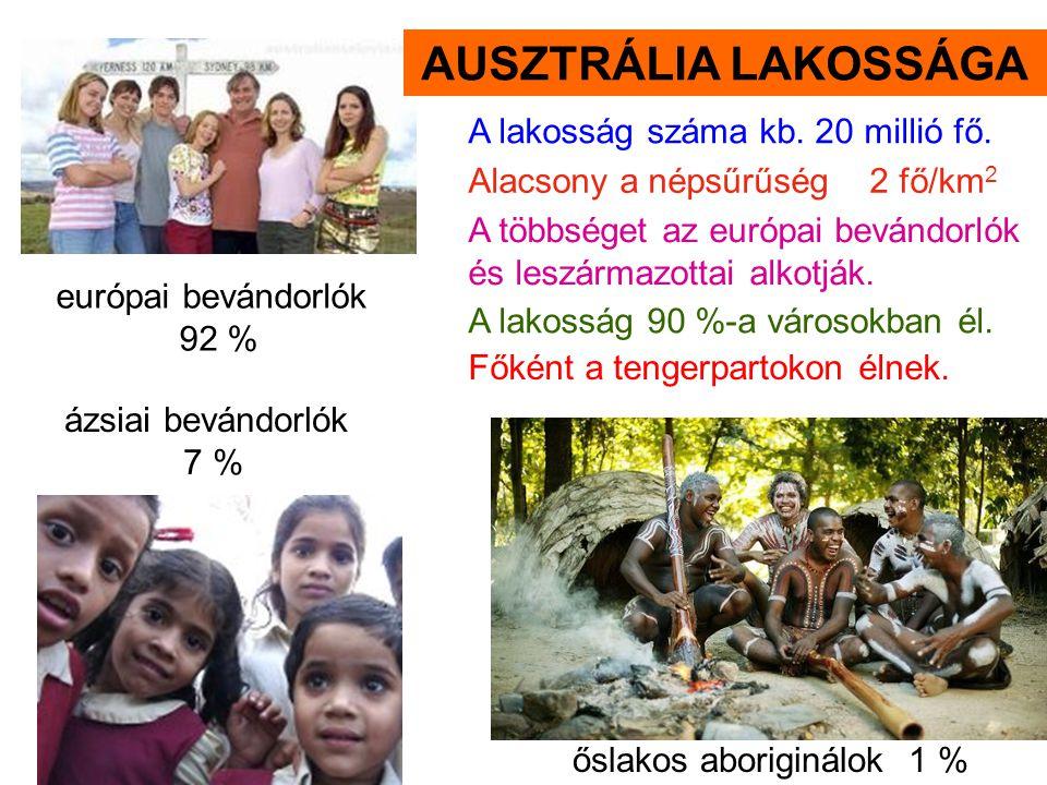 őslakos aboriginálok 1 % európai bevándorlók 92 % ázsiai bevándorlók 7 % A lakosság száma kb. 20 millió fő. A többséget az európai bevándorlók és lesz