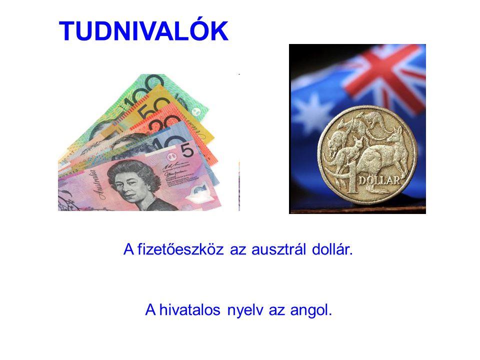 A fizetőeszköz az ausztrál dollár. A hivatalos nyelv az angol. TUDNIVALÓK