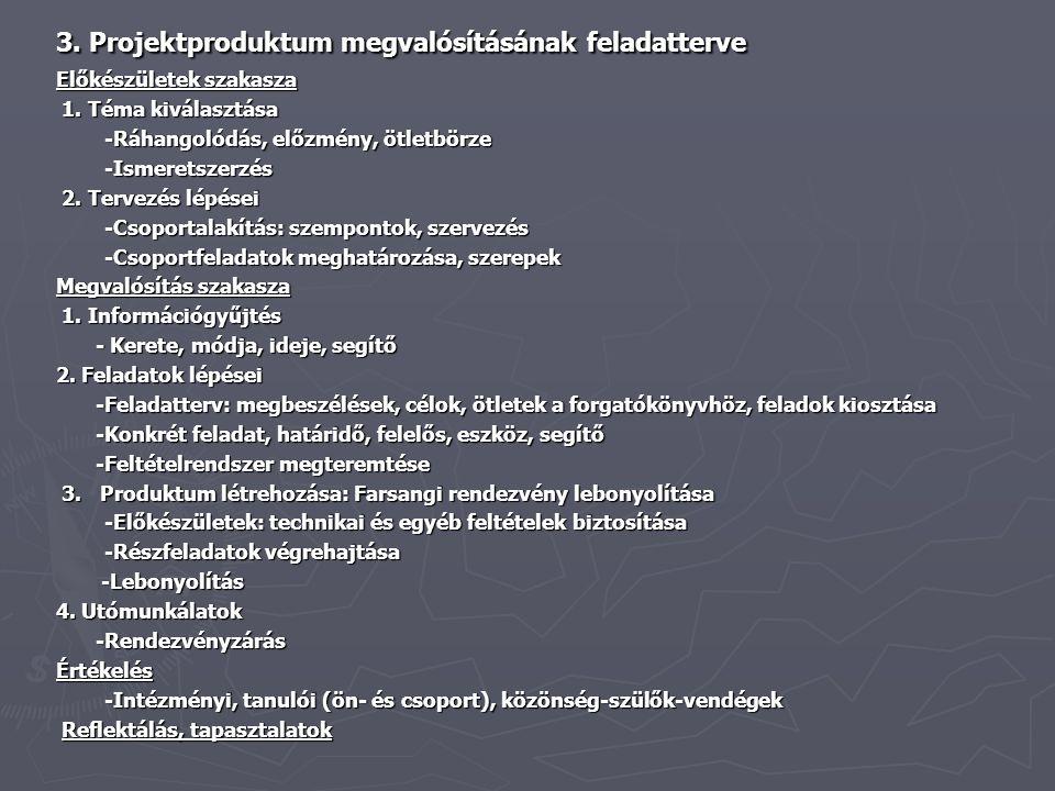 3. Projektproduktum megvalósításának feladatterve Előkészületek szakasza 1. Téma kiválasztása 1. Téma kiválasztása -Ráhangolódás, előzmény, ötletbörze