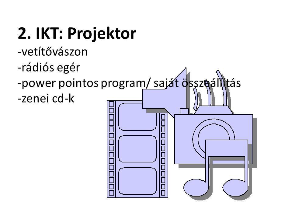 2. IKT: Projektor -vetítővászon -rádiós egér -power pointos program/ saját összeállítás -zenei cd-k
