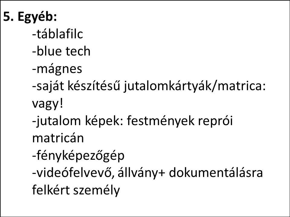 5. Egyéb: -táblafilc -blue tech -mágnes -saját készítésű jutalomkártyák/matrica: vagy! -jutalom képek: festmények reprói matricán -fényképezőgép -vide