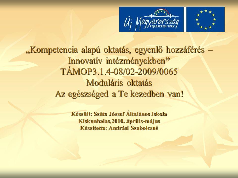 """""""Kompetencia alapú oktatás, egyenlő hozzáférés – Innovatív intézményekben TÁMOP3.1.4-08/02-2009/0065 Moduláris oktatás Az egészséged a Te kezedben van."""