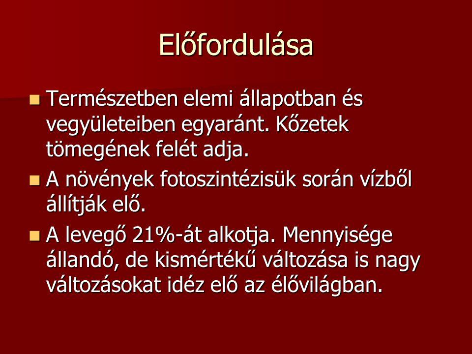 Érdekességek Ecetesedés = alkoholok levegővel való érintkezése során bekövetkező oxidációja ecetsavvá Ecetesedés = alkoholok levegővel való érintkezése során bekövetkező oxidációja ecetsavvá avasodás = zsírok, olajok, vajak oxidációja avasodás = zsírok, olajok, vajak oxidációja az oxigént 1733-ban a svéd Scheele, majd később, 1774-ben az angol Priestley fedezte fel.