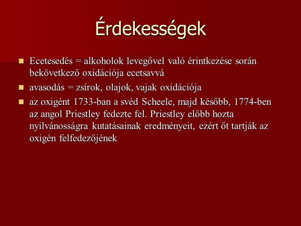 Érdekességek Ecetesedés = alkoholok levegővel való érintkezése során bekövetkező oxidációja ecetsavvá Ecetesedés = alkoholok levegővel való érintkezés