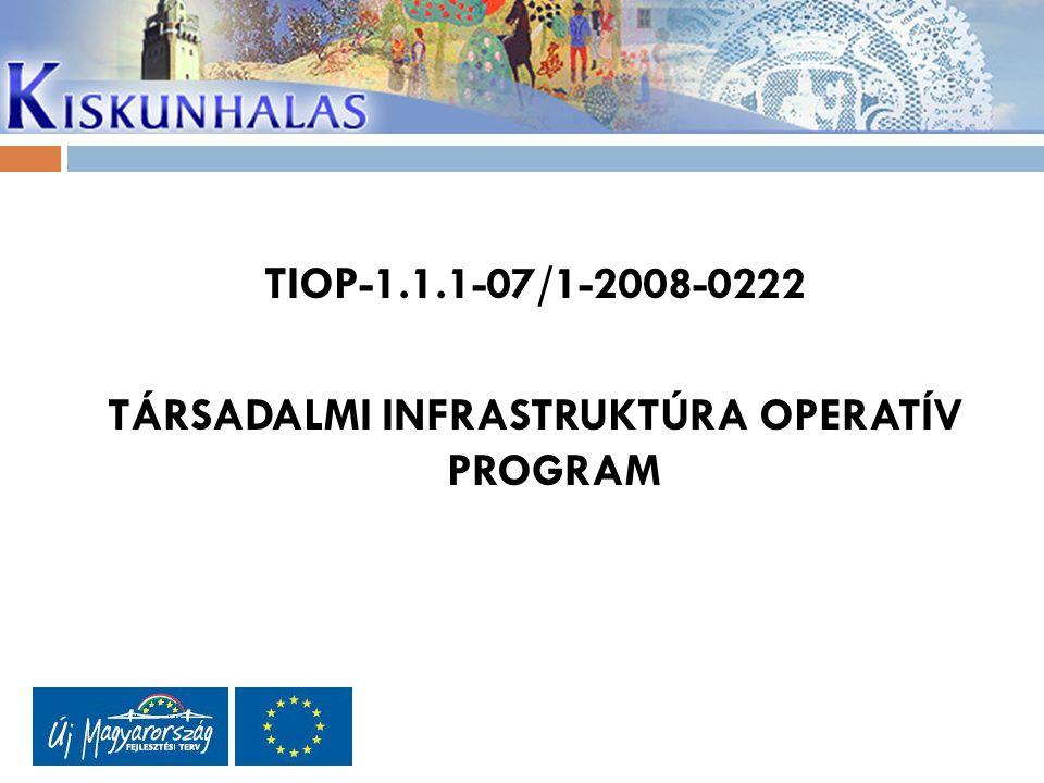 TIOP-1.1.1-07/1-2008-0222 TÁRSADALMI INFRASTRUKTÚRA OPERATÍV PROGRAM