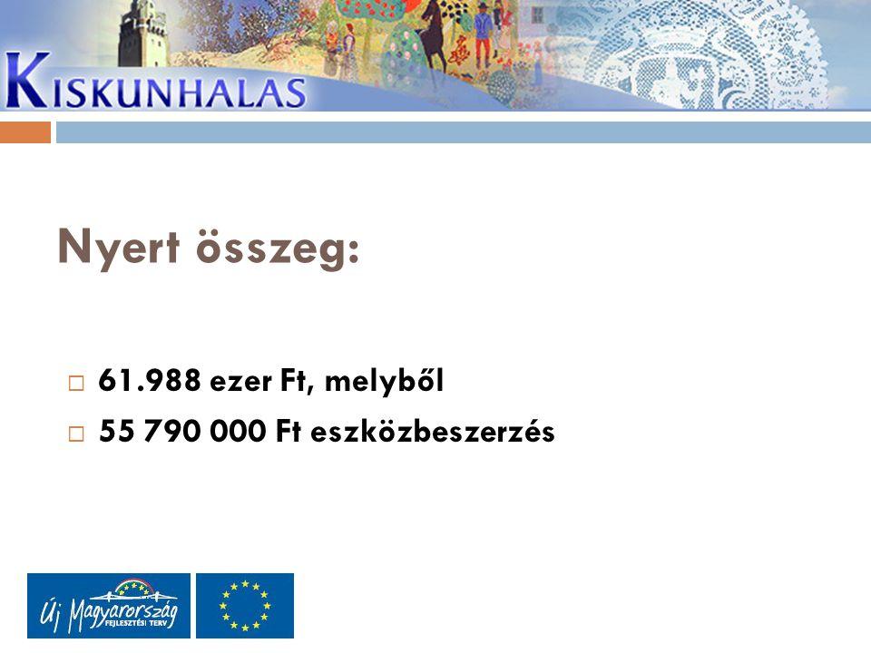 Nyert összeg:  61.988 ezer Ft, melyből  55 790 000 Ft eszközbeszerzés