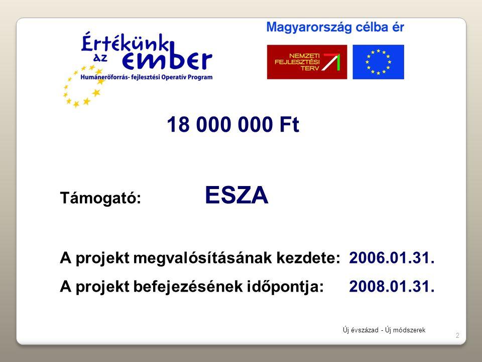 2 Támogató: ESZA A projekt megvalósításának kezdete: 2006.01.31. A projekt befejezésének időpontja: 2008.01.31. 18 000 000 Ft