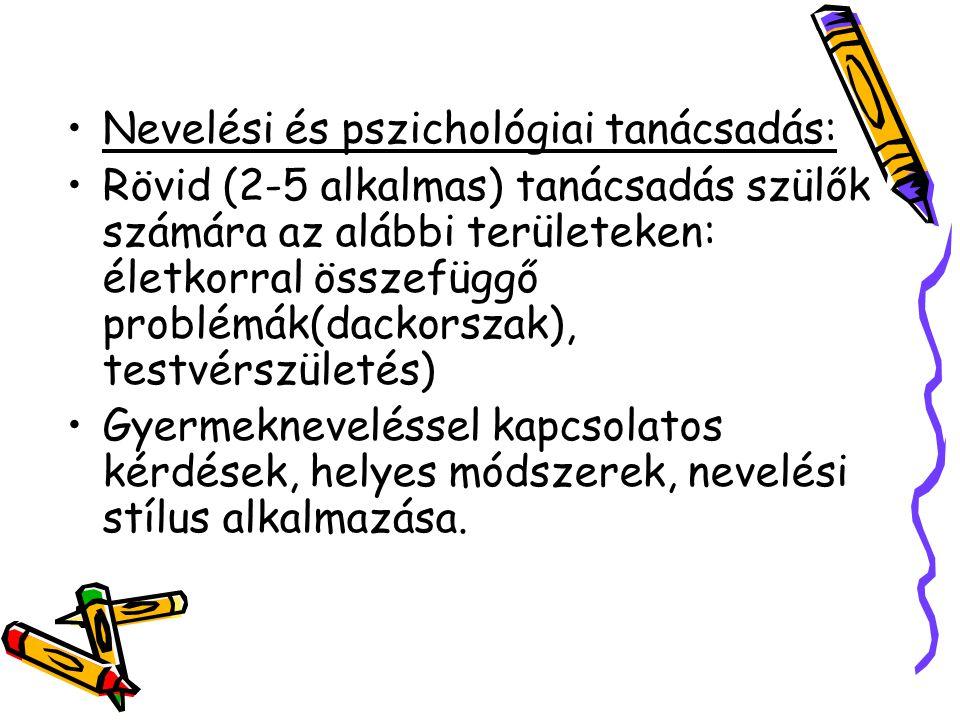 Nevelési és pszichológiai tanácsadás: Rövid (2-5 alkalmas) tanácsadás szülők számára az alábbi területeken: életkorral összefüggő problémák(dackorszak