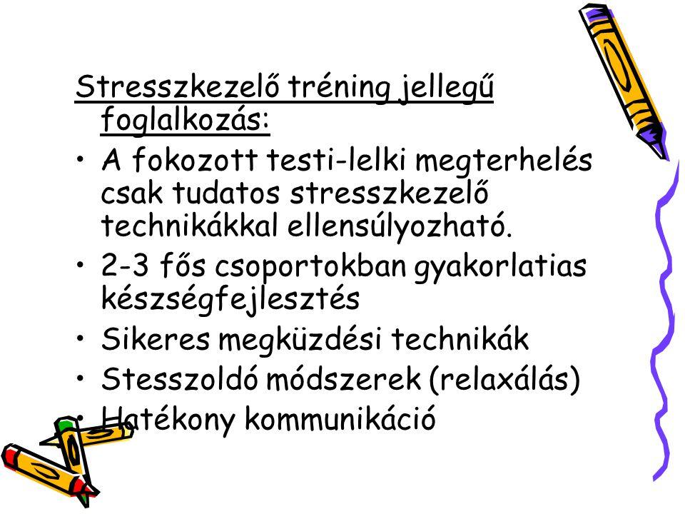 Stresszkezelő tréning jellegű foglalkozás: A fokozott testi-lelki megterhelés csak tudatos stresszkezelő technikákkal ellensúlyozható. 2-3 fős csoport