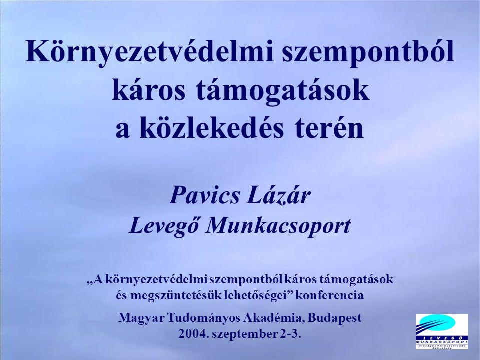 """Környezetvédelmi szempontból káros támogatások a közlekedés terén Pavics Lázár Levegő Munkacsoport """"A környezetvédelmi szempontból káros támogatások és megszüntetésük lehetőségei konferencia Magyar Tudományos Akadémia, Budapest 2004."""
