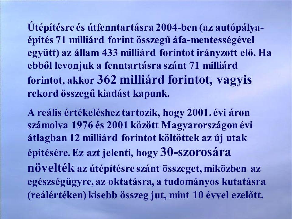 Útépítésre és útfenntartásra 2004-ben (az autópálya- építés 71 milliárd forint összegű áfa-mentességével együtt) az állam 433 milliárd forintot irányzott elő.
