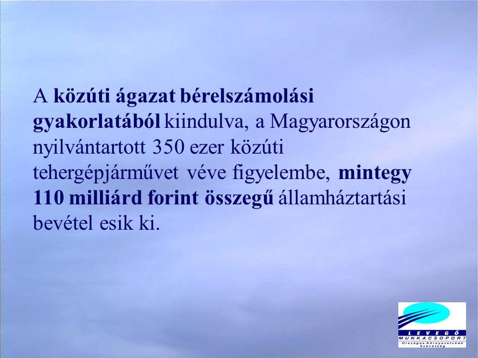 A közúti ágazat bérelszámolási gyakorlatából kiindulva, a Magyarországon nyilvántartott 350 ezer közúti tehergépjárművet véve figyelembe, mintegy 110 milliárd forint összegű államháztartási bevétel esik ki.