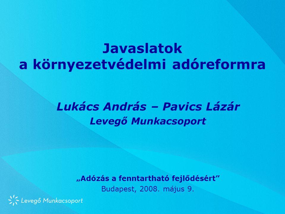 """Javaslatok a környezetvédelmi adóreformra Lukács András – Pavics Lázár Levegő Munkacsoport """"Adózás a fenntartható fejlődésért Budapest, 2008."""