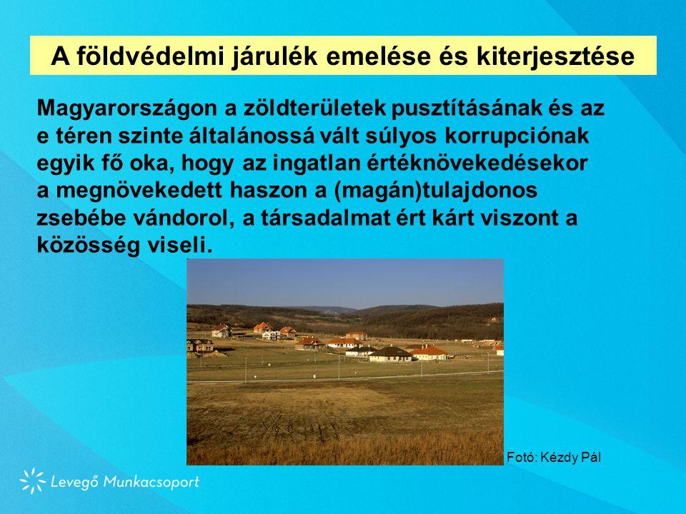 Magyarországon a zöldterületek pusztításának és az e téren szinte általánossá vált súlyos korrupciónak egyik fő oka, hogy az ingatlan értéknövekedésekor a megnövekedett haszon a (magán)tulajdonos zsebébe vándorol, a társadalmat ért kárt viszont a közösség viseli.