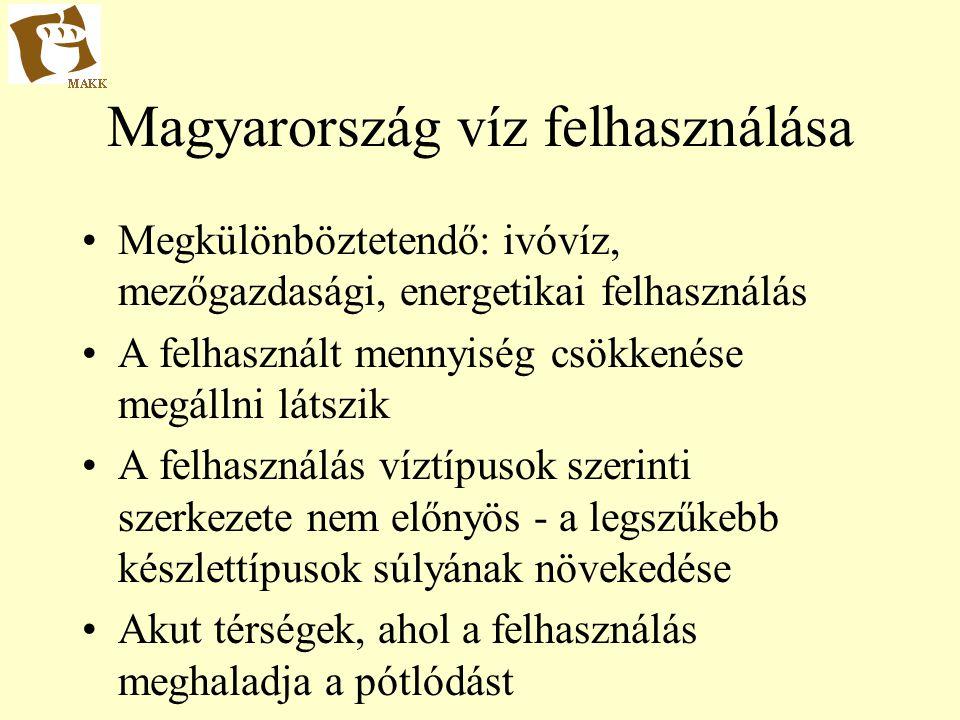 Magyarország víz felhasználása Megkülönböztetendő: ivóvíz, mezőgazdasági, energetikai felhasználás A felhasznált mennyiség csökkenése megállni látszik A felhasználás víztípusok szerinti szerkezete nem előnyös - a legszűkebb készlettípusok súlyának növekedése Akut térségek, ahol a felhasználás meghaladja a pótlódást