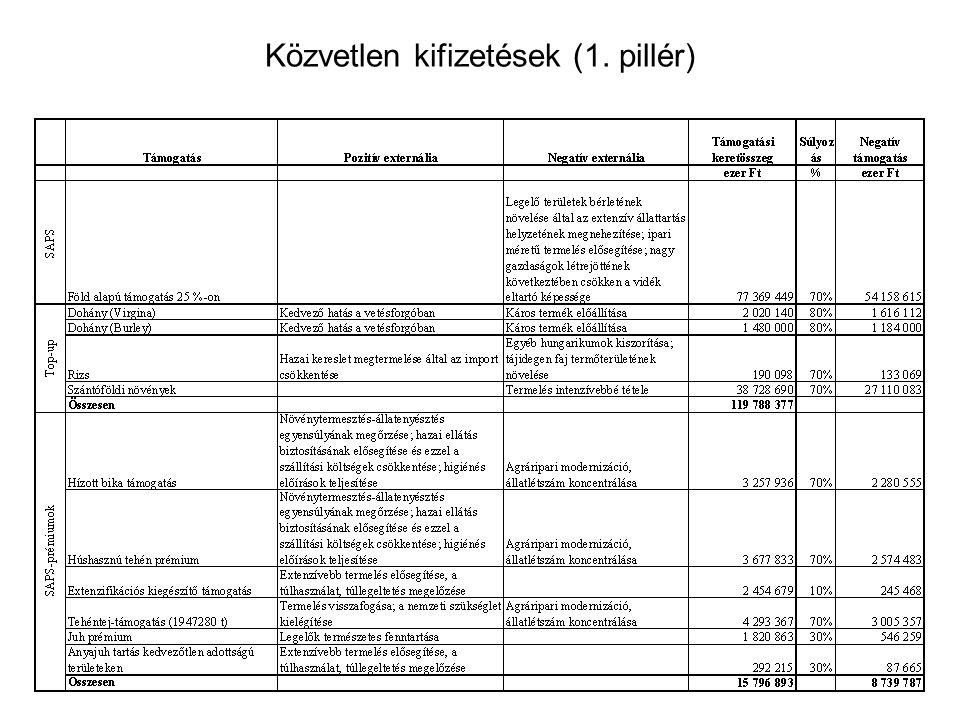 Közvetlen kifizetések (1. pillér)
