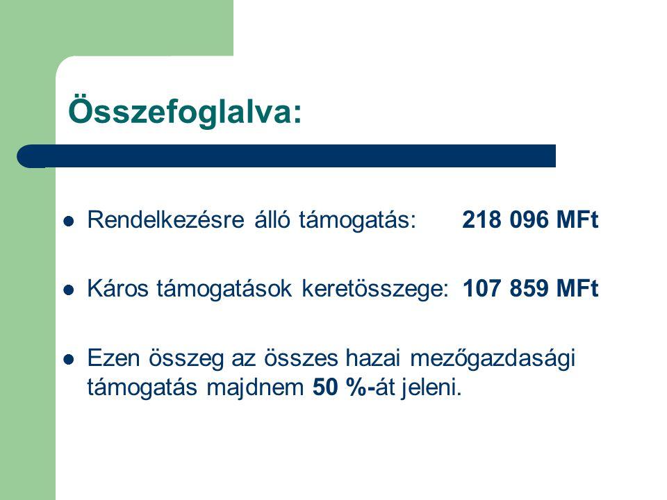 Összefoglalva: Rendelkezésre álló támogatás:218 096 MFt Káros támogatások keretösszege:107 859 MFt Ezen összeg az összes hazai mezőgazdasági támogatás