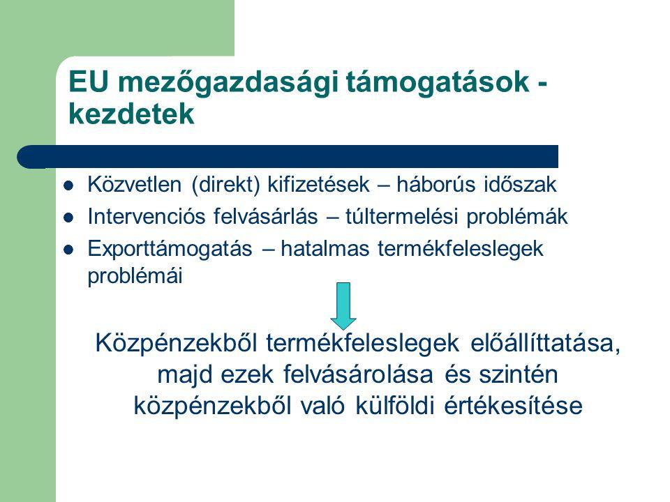 EU mezőgazdasági támogatások - reformtörekvések Támogatás csak akkor, ha a mezőgazdaság a termelés mellett környezeti és társadalmi feladatokat is vállal Ökoszociális szolgáltatások – nem importálható közjavak Többfunkciós agrármodell – 1992-es CAP reform – 1257/1999 EU tanácsi rendelet