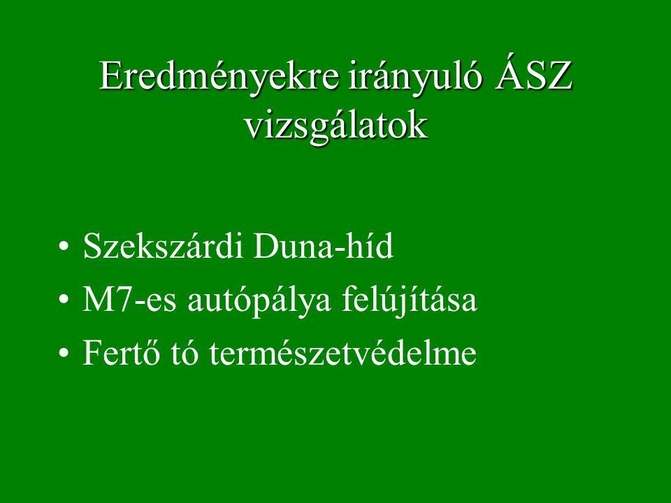 Eredményekre irányuló ÁSZ vizsgálatok Szekszárdi Duna-híd M7-es autópálya felújítása Fertő tó természetvédelme