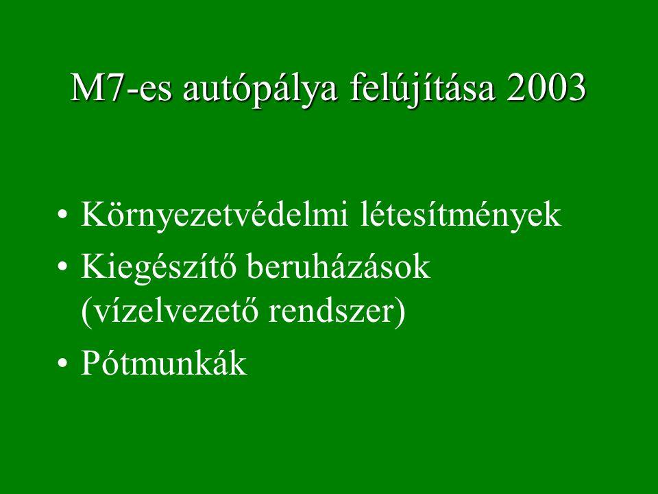 M7-es autópálya felújítása 2003 Környezetvédelmi létesítmények Kiegészítő beruházások (vízelvezető rendszer) Pótmunkák