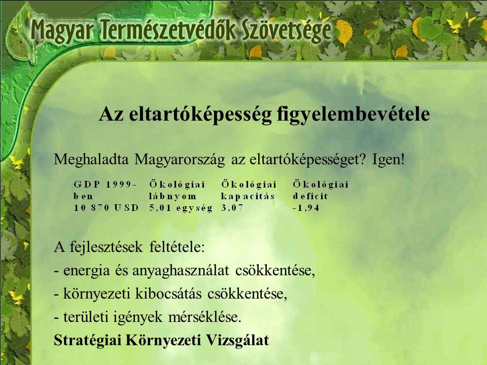 Az eltartóképesség figyelembevétele Meghaladta Magyarország az eltartóképességet.
