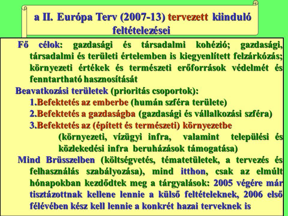 a II. Európa Terv (2007-13) tervezett kiinduló feltételezései a II. Európa Terv (2007-13) tervezett kiinduló feltételezései Fő célok: gazdasági és tár