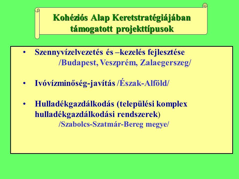 Szennyvízelvezetés és –kezelés fejlesztése /Budapest, Veszprém, Zalaegerszeg/ Ivóvízminőség-javítás /Észak-Alföld/ Hulladékgazdálkodás (települési kom