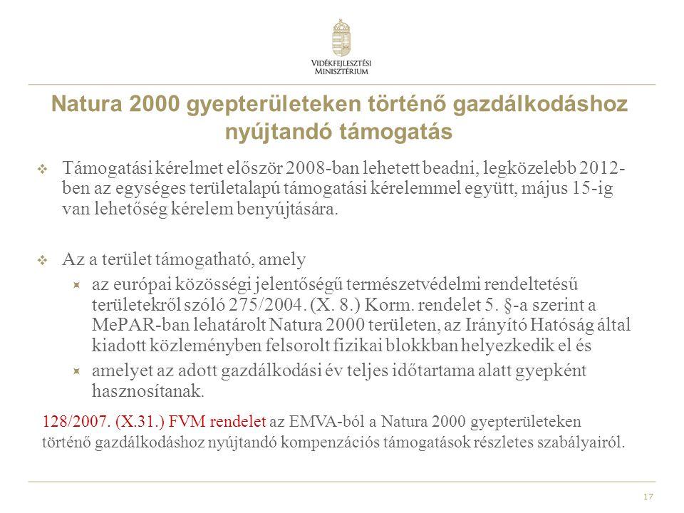 18 Nem termelő mezőgazdasági beruházásoknak nyújtott támogatás  Az intézkedés célja a vidéki táj megőrzése, az egyedi tájértékek fennmaradásának elősegítése, a növény- és állatvilág fajgazdagságának emelése, a környezeti állapot javítása, az önként vállalt agrár-környezetgazdálkodási előírások betartásának lehetővé tétele, valamint az előírások teljesítésének segítése és a Natura 2000 és egyéb magas természeti értékű területek közjóléti értékének növelése.