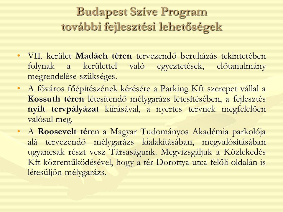 Budapest Szíve Program további fejlesztési lehetőségek VII. kerület Madách téren tervezendő beruházás tekintetében folynak a kerülettel való egyezteté