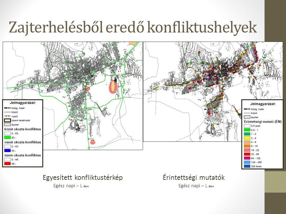 A stratégiai zajtérképek alapján feltárt problémák, fejlesztésre szoruló helyzetek A környezeti zajterhelés tekintetében a közúti zaj tekinthető meghatározónak.