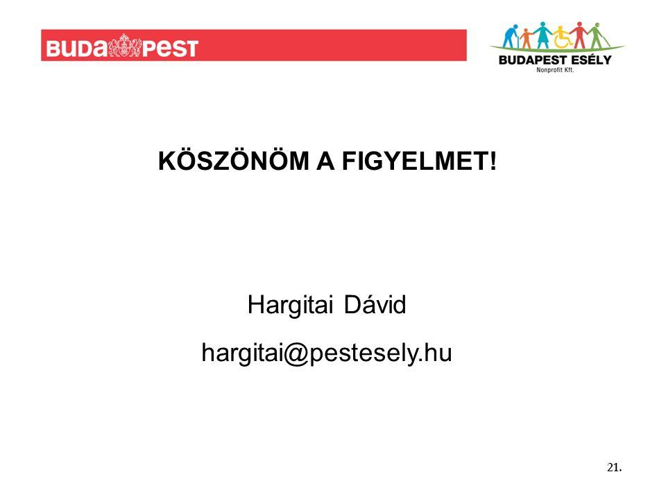 21. KÖSZÖNÖM A FIGYELMET! Hargitai Dávid hargitai@pestesely.hu