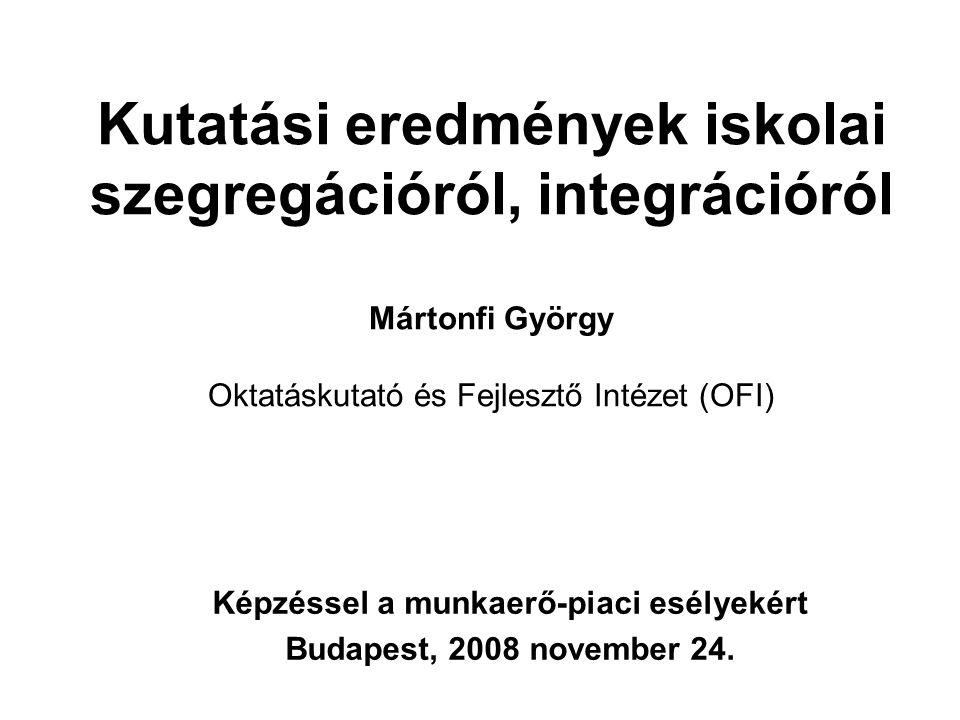… a nem cigány gyerekek számára, településtípus szerinti megoszlás, % nagyon jó + inkább jó nagyon rossz + inkább rossz Budapest34,365,7 Megyei jogú város 39,460,5 Egyéb város31,668,5 Község36,363,7