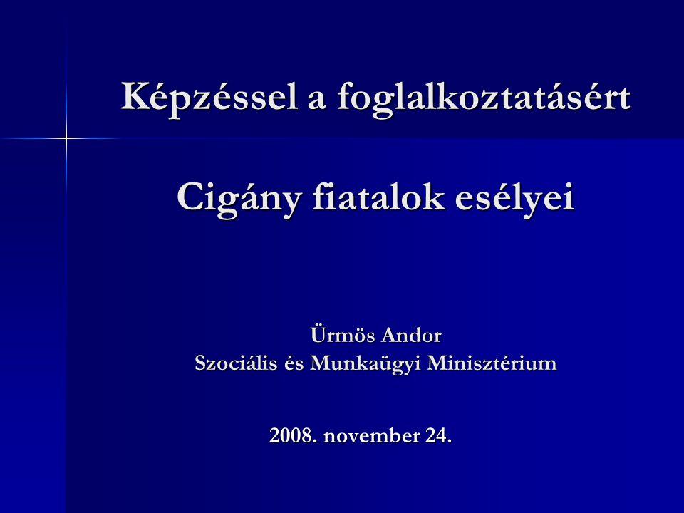 Képzéssel a foglalkoztatásért Cigány fiatalok esélyei Ürmös Andor Szociális és Munkaügyi Minisztérium 2008.