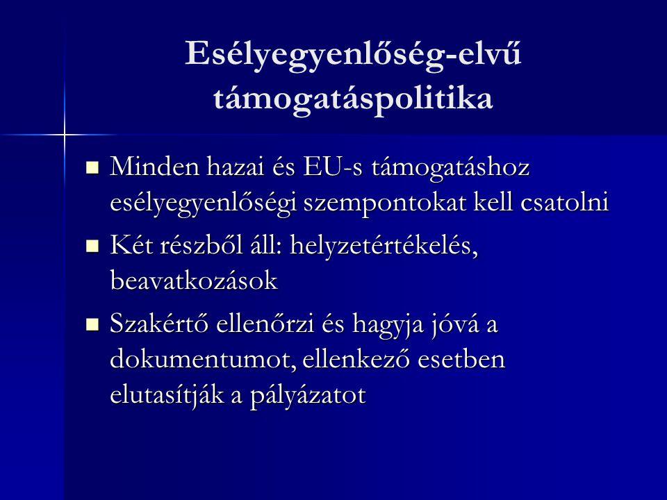 Esélyegyenlőség-elvű támogatáspolitika Minden hazai és EU-s támogatáshoz esélyegyenlőségi szempontokat kell csatolni Minden hazai és EU-s támogatáshoz esélyegyenlőségi szempontokat kell csatolni Két részből áll: helyzetértékelés, beavatkozások Két részből áll: helyzetértékelés, beavatkozások Szakértő ellenőrzi és hagyja jóvá a dokumentumot, ellenkező esetben elutasítják a pályázatot Szakértő ellenőrzi és hagyja jóvá a dokumentumot, ellenkező esetben elutasítják a pályázatot