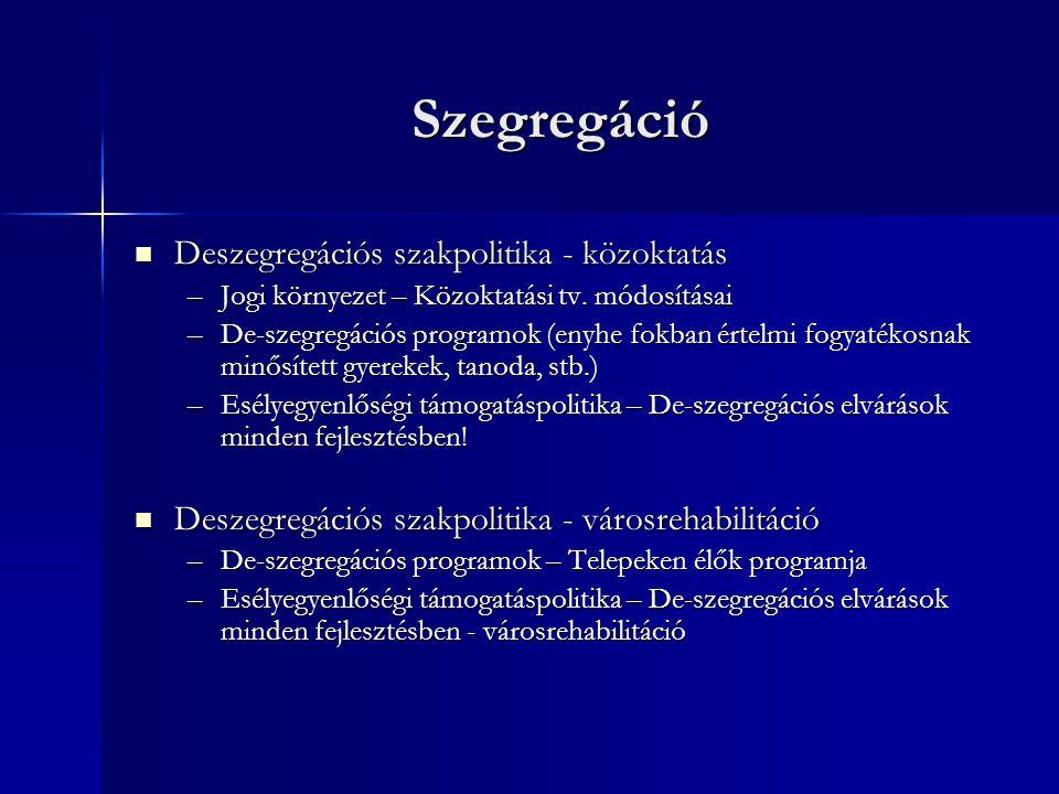 Deszegregációs szakpolitika - közoktatás Deszegregációs szakpolitika - közoktatás –Jogi környezet – Közoktatási tv.