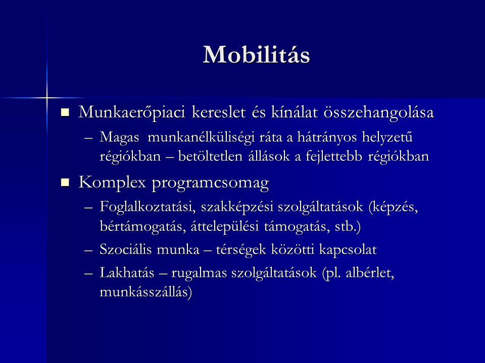 Mobilitás Munkaerőpiaci kereslet és kínálat összehangolása Munkaerőpiaci kereslet és kínálat összehangolása –Magas munkanélküliségi ráta a hátrányos helyzetű régiókban – betöltetlen állások a fejlettebb régiókban Komplex programcsomag Komplex programcsomag –Foglalkoztatási, szakképzési szolgáltatások (képzés, bértámogatás, áttelepülési támogatás, stb.) –Szociális munka – térségek közötti kapcsolat –Lakhatás – rugalmas szolgáltatások (pl.